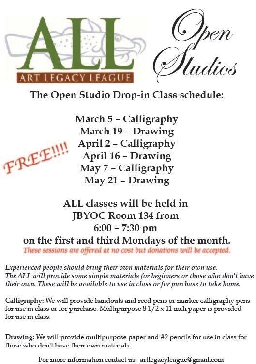 ALL Launches OPEN STUDIOS Drop-In Classes!!