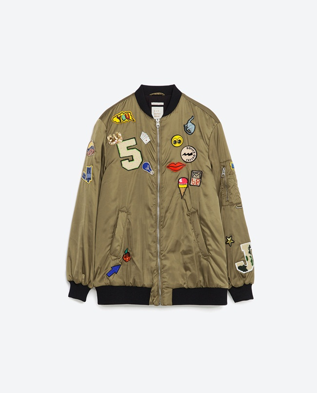 Zara 2016 Spring Patch Bomber