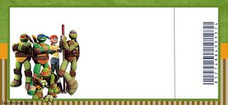 Tarjeta con forma de Ticket de Tortugas Ninja.