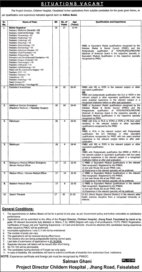 Doctors Jobs in Children Hospital Faisalabad Jobs
