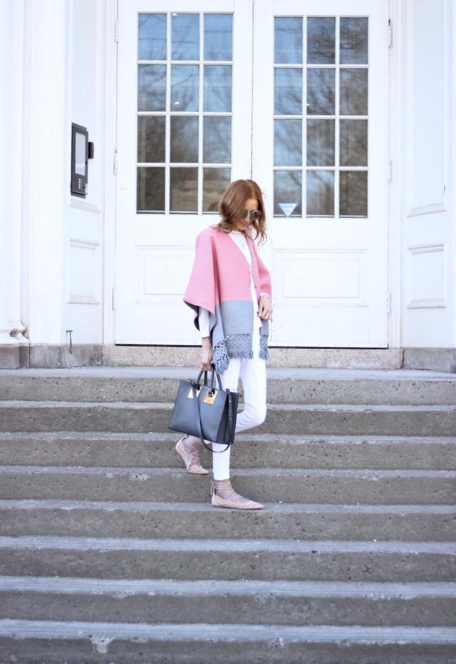 Le Specs Sunglasses, Splitshade Kimono (via Anthropologie on sale), American Eagle Denim, Topshop flats (similar), Sophie Hulme Tote -- transitional dressing