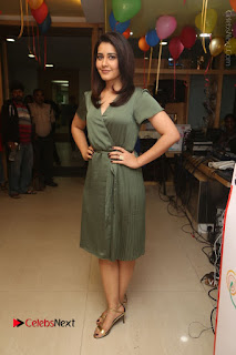 Actress Raashi Khanna Stills in Green Short Dress at Mirchi 95 Suno Aur Mercedes Jeeto Contest  0160.JPG