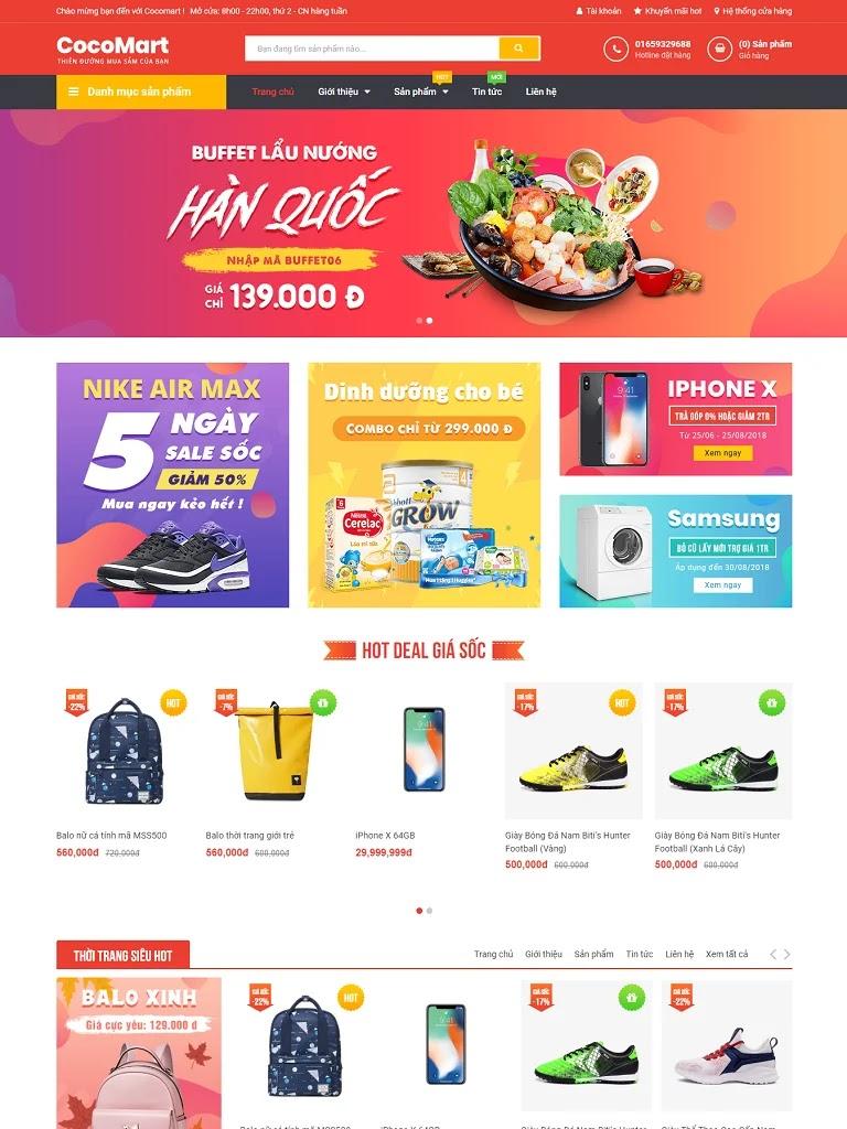 Template blogspot bán hàng Cocomart Red chuẩn seo