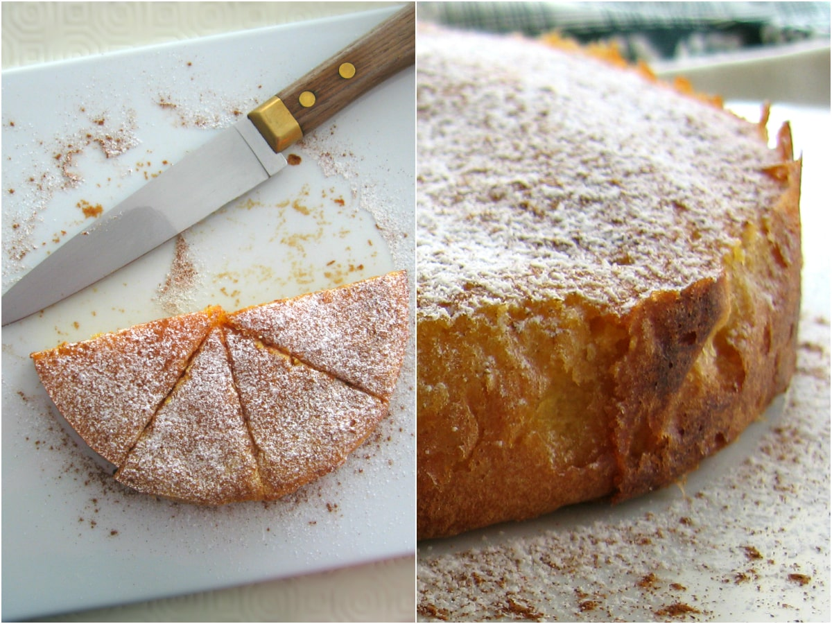 2 images: one with 4 slices on a plate along with a knife, a another with the cake seen up close