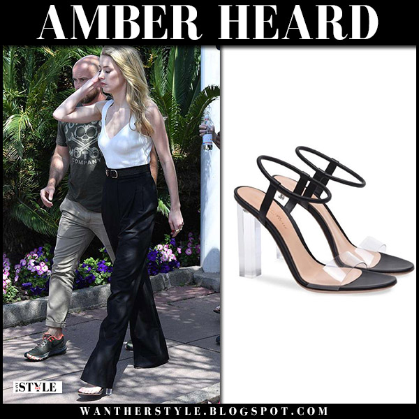 Amber Heard in white top, black trousers and clear sandals gianvito rossii hanne canne festival 2018