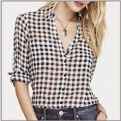 White and black checked portofino shirt