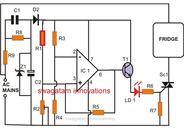 fridge thermosatt using IC 741 and PTC thermistor