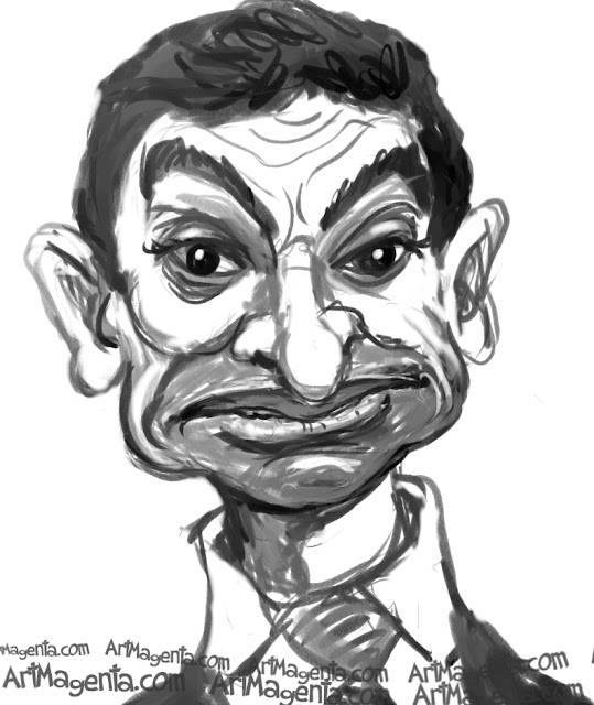 Rowan Atkinson caricature cartoon. Portrait drawing by caricaturist Artmagenta