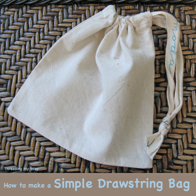 Unlined, calico Drawstring Bag TUTORIAL... quick and easy to make ~ Threading My Way