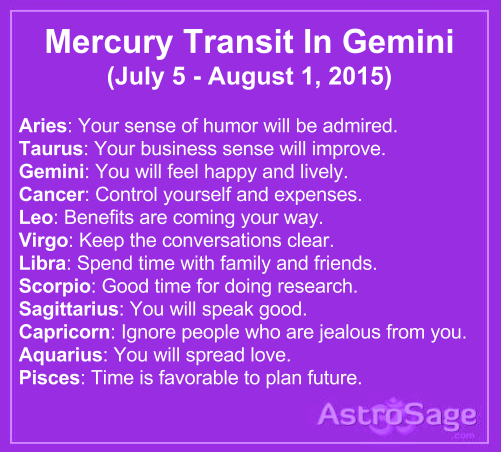 Mercury transit in Gemini will affect your life directly or indirectly.