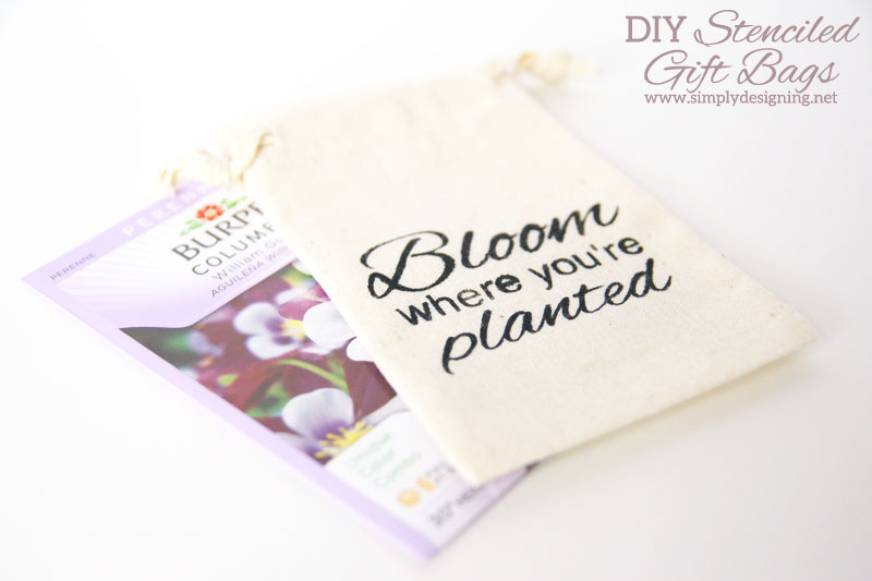 How to Stencil a Cotton Drawstring Bag | cute cotton drawstring bags, stenciled and filled with flower seeds | perfect for #mothersday #teacherapprecviation #spring or #easter | #silhouette #vinyl