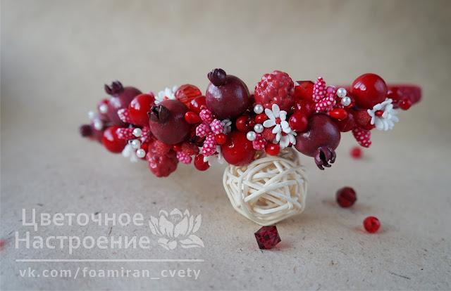 ободок из красных бусин