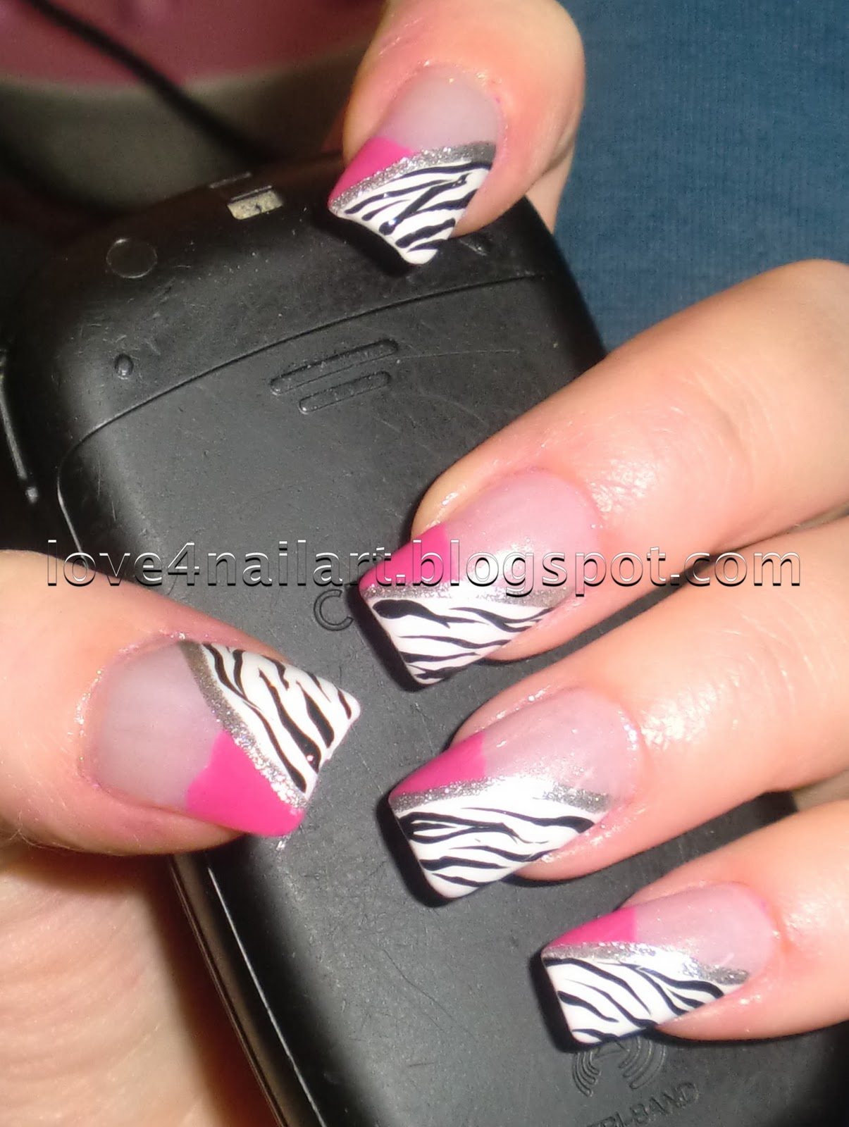 Love4NailArt: Hot Pink & Zebra Nails