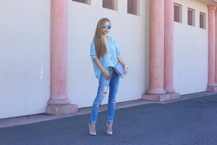 Chicwish Sunny Afternoon V neck Sweater in Pastel Blue, blank denim distressed skinny jeans, schutz heels, marc jacobs sunglasses, hermes bracelet, GiGi New York Carly clutch, kendra scott necklace, street style, nyc fashion blog, fall fashion, fall essentials