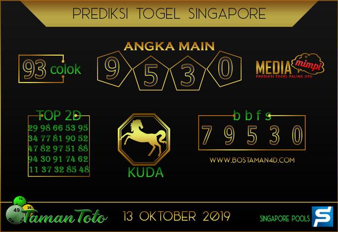 Prediksi Togel SINGAPORE TAMAN TOTO 13 OKTOBER 2019