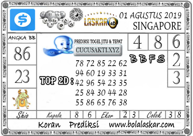 Prediksi Togel SINGAPORE LASKAR4D 01 AGUSTUS 2019
