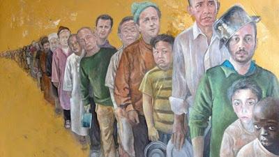 Σύρος ζωγραφίζει τους ηγέτες ως φτωχούς και πρόσφυγες