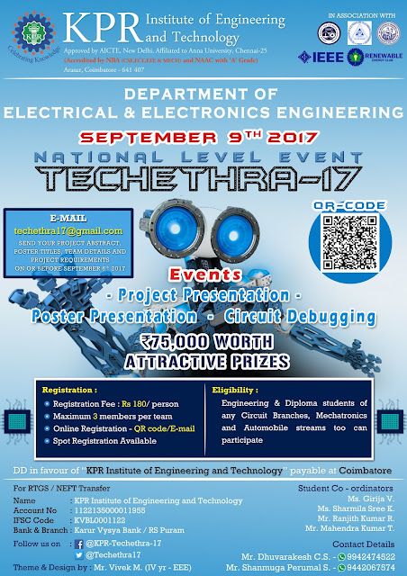 TECHETHRA-17: A National Level Event at KPR Institute, Coimbatore on Sep 09, 2017