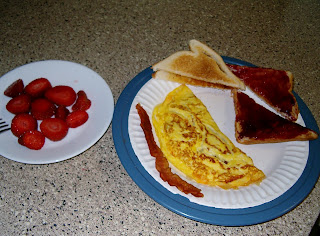 Bacon & Cheese Omelet, Toast and Strawberries