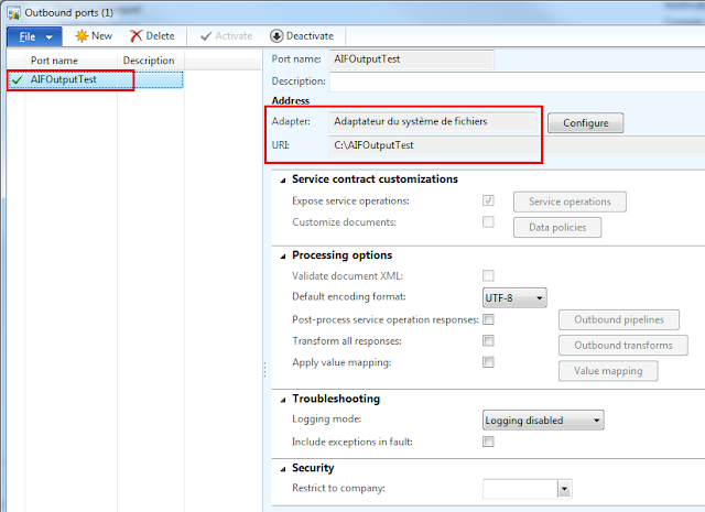 AX 2012 Export Data with Outbound ports