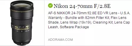 Nikon 24-70mm f  2.8E AF-S ED VR NIKKOR Lens USA Warranty Bundle with 82mm filter kit flex lens shade lens wrap 29x19 cleaning kit lens cap leash software package