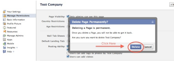 how to delete your own facebook page