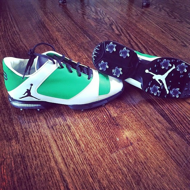 eb67b2b71ac5 Keegan Bradley Sporting The Sweetest Kicks - Nike Air Jordan golf shoes at  the Masters