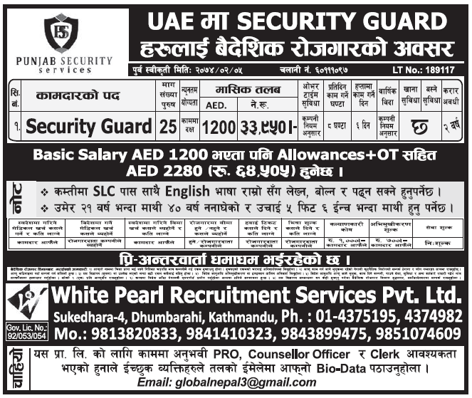Jobs in UAE for Nepali, Salary Rs 33,950