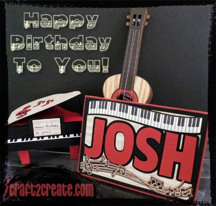 Birthday Card, 3D, Musical instruments, piano, guitar, SVGcuts, Lettering Delights