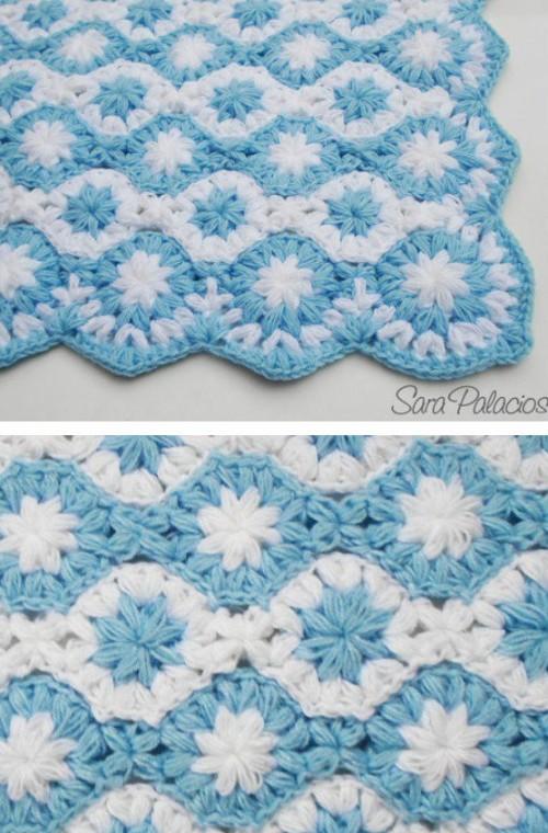 Crochet Puff Flower Blanket - Free Pattern