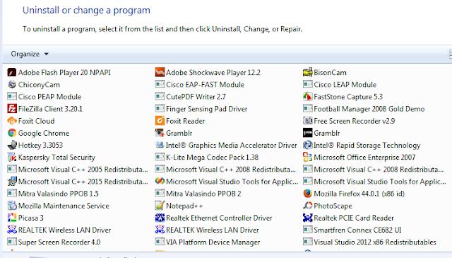 Memilih program komputer yang di uninstall dengan cara klik 2 kali