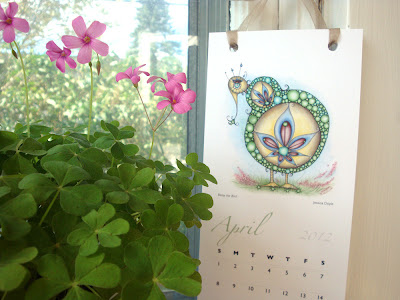 2012 calendar with whimsical creatures
