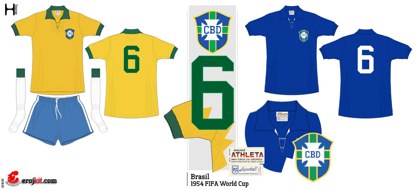 9238453f61 Essa seria a primeira Copa que a Seleção disputou com a camisa amarela.  Camisa essa feita pela Athleta.