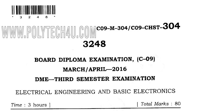 d-me c-09 electrical engineering and basic electronics March/April-2016