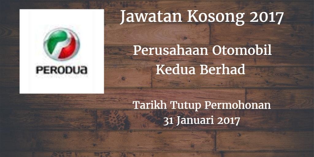 Jawatan Kosong PERODUA 21 & 31 Januari 2017