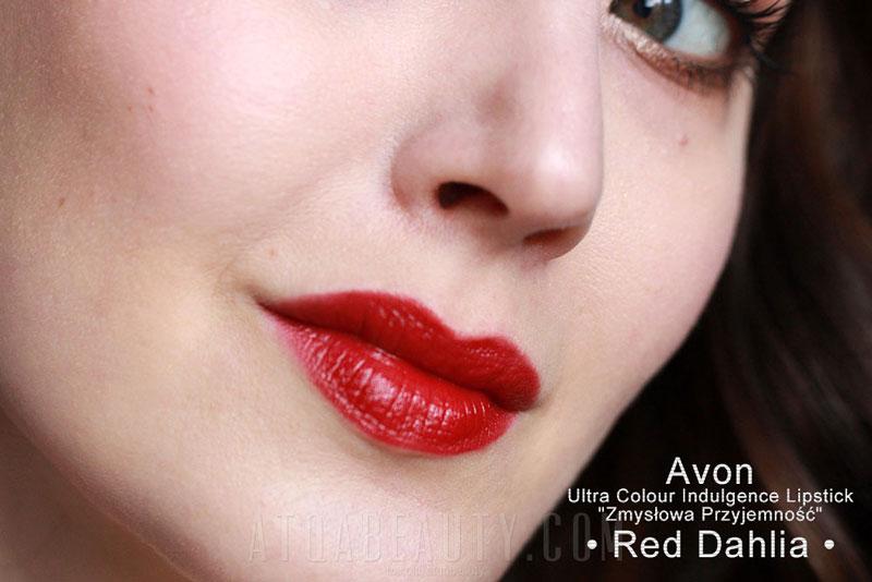 """AVON • Ultra Colour Indulgence Lipstick """"Zmysłowa Przyjemność"""" • Red Dahlia •"""
