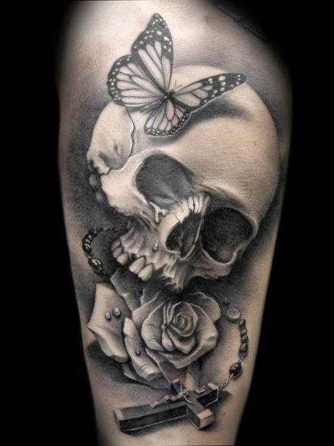 tatuaje de calavera realista , skull-tattoo, tatuaje-calavera-para-hombre