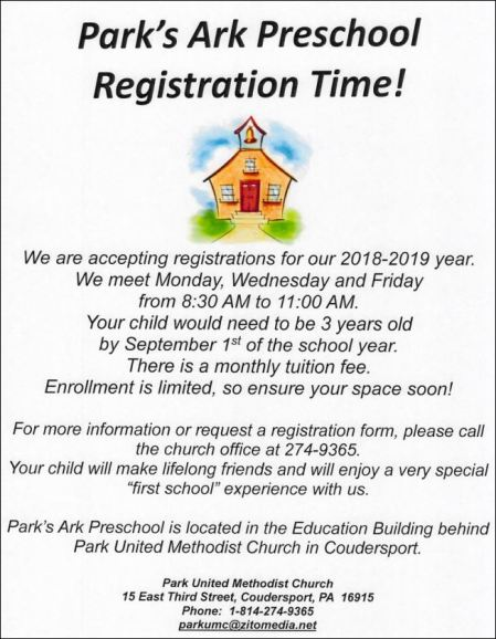 2018/2019 Park's Ark Preschool Registration
