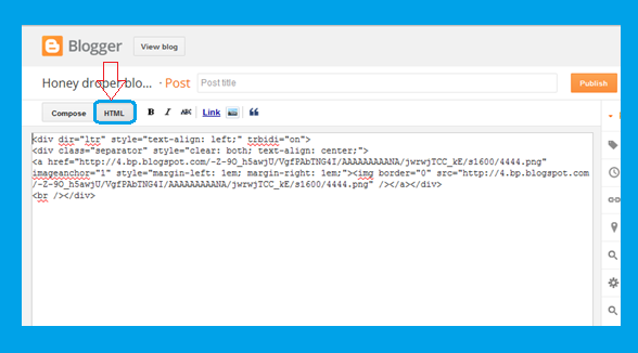 Blogger Post editor image HTML code generated