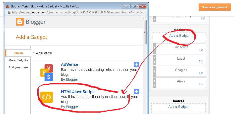 Cara Menambah HTML / Javascript Blog