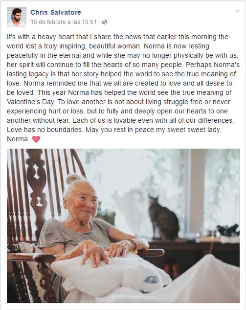 "Muere ""abuelita"" adoptada por un actor, que sufría de cáncer"