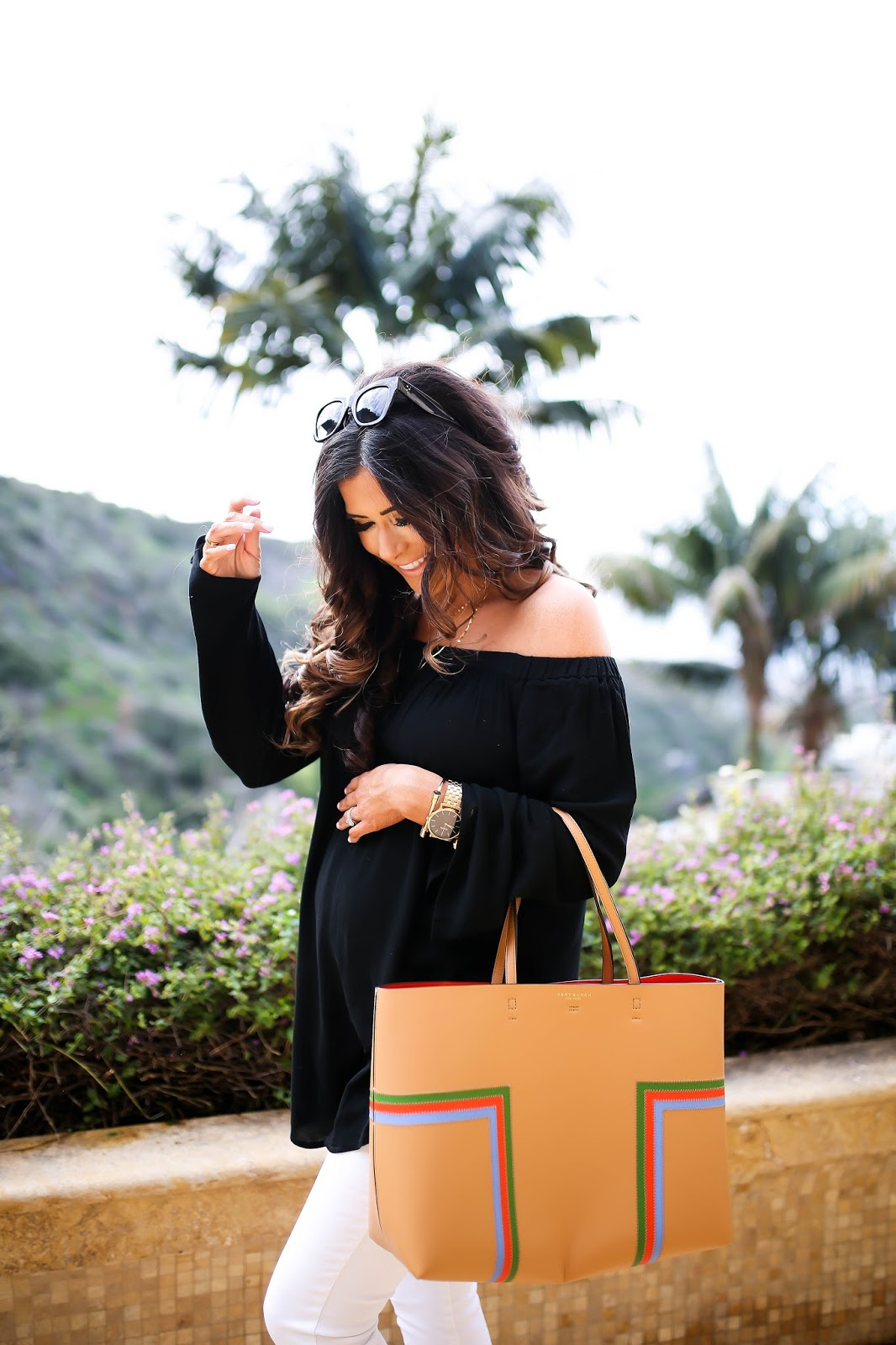 Emily Gemma, The sweetest thing blog, Nordstrom off the shoulder top, tory burch leather tote black tan, marc fisher wedges review, nordstrom wedges spring, chloe dupe wedges, marc fisher wedges adalyn in saddle, Lana jewelry 14k necklace, black ripped maternity jeans, DL1961 maternity jeans, laguna beach fashion blog, laguna beach best places to eat, montage laguna beach The Loft review, spring fashion trends 2017, spring fashion pinterest, spring outfits pinterest, gucci marmot medium white bag, nixon gold watch with black face, the styled collection bracelets, spring outfit ideas with off the shoulder tops, laguna beach blog review, pregnant blogger, spring outfits for expecting moms, pregnant blogger outfits, maternity fashion blog