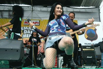 One of the Indonesian Dangdut Koplo Singers Shows