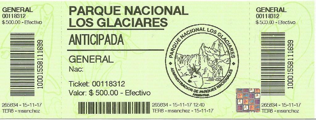 Ingresso para o Parque Nacional Los Glaciares