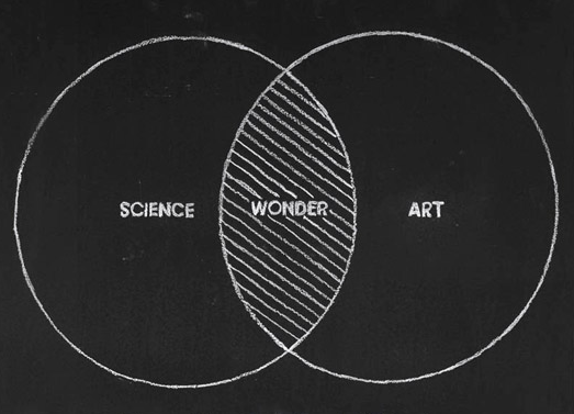 """Venn Diagram with primary circles: Art and Science with overlapping sections titled """"Wonder"""""""