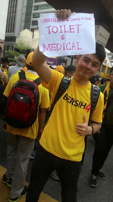 Bersih 4: Sign pointing to Toilets and Medical at St John's Cathedral