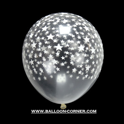 Balon Latex Transparan Print Star / Bintang