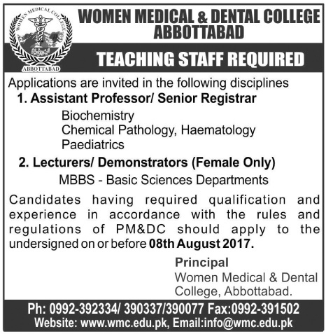 Teaching Jobs In Women Medical And Dental College Abbottabad 26 July 2017