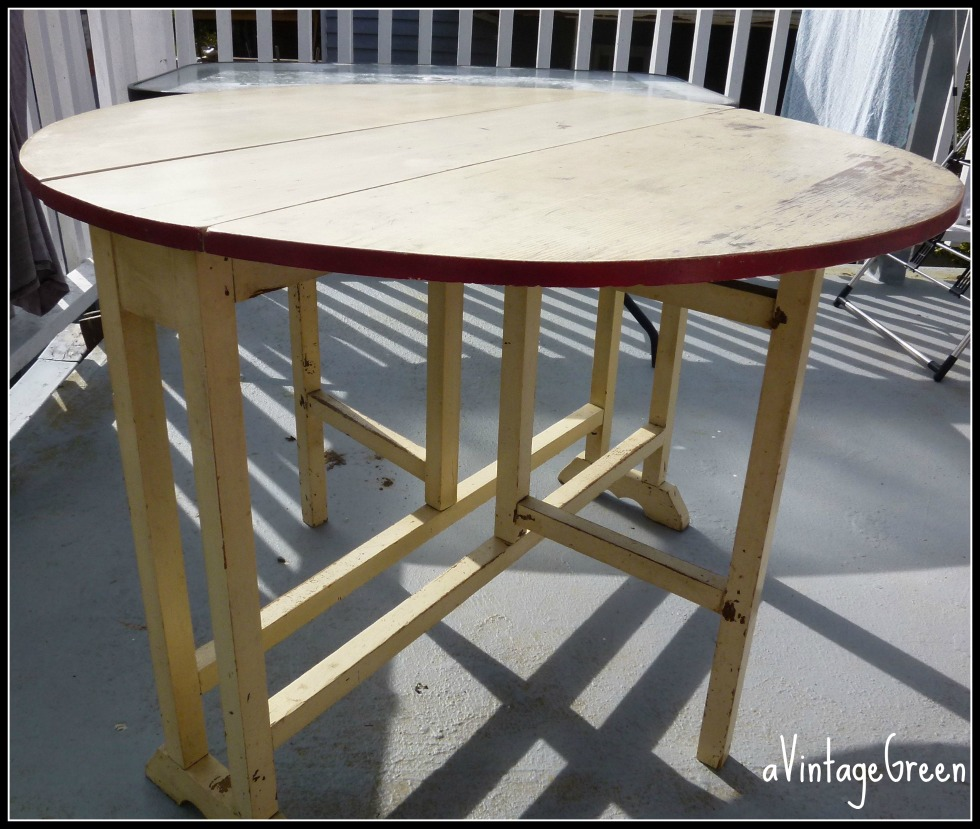 s painted drop leaf kitchen table s kitchen table Below is the cleaned and waxed table top from above showing wear and marks