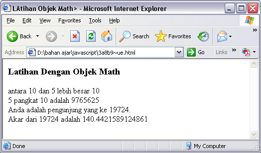 SOURCE CODE Program Objek Math JavaScript